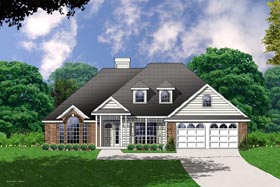 Traditional House Plan 77050 with 4 Beds, 2 Baths, 2 Car Garage Elevation