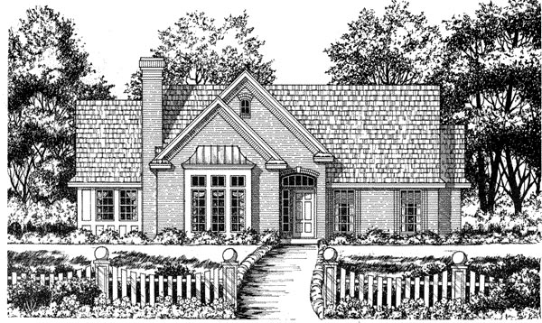Traditional House Plan 77051 with 3 Beds, 2 Baths, 2 Car Garage Elevation