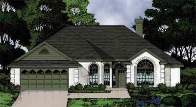 Mediterranean, One-Story, Traditional House Plan 77053 with 3 Beds, 2 Baths, 2 Car Garage Elevation