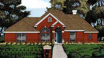 One-Story, Traditional House Plan 77055 with 3 Beds , 2.5 Baths , 2 Car Garage Elevation