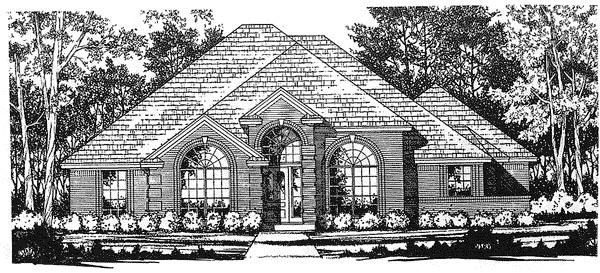 European One-Story Elevation of Plan 77056