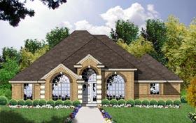 European House Plan 77057 with 3 Beds, 2 Baths, 2 Car Garage Elevation