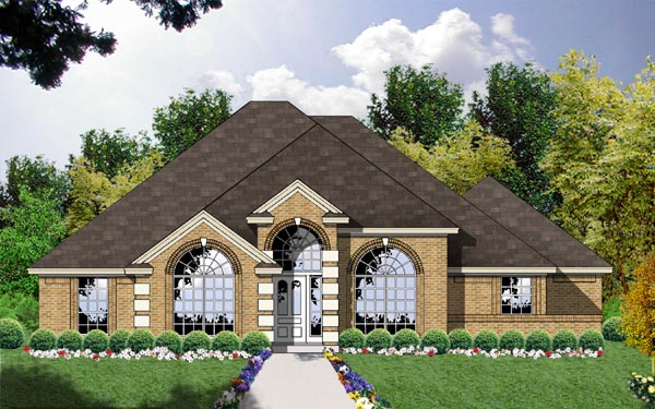 European, One-Story House Plan 77057 with 3 Beds, 2 Baths, 2 Car Garage Front Elevation