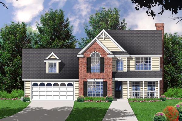 Farmhouse, Traditional House Plan 77058 with 4 Beds, 2.5 Baths, 2 Car Garage Elevation