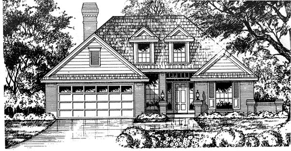 Traditional House Plan 77066 with 3 Beds, 2 Baths, 2 Car Garage Elevation