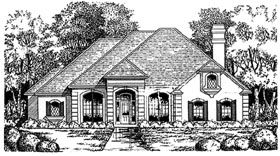 European House Plan 77067 with 2 Beds, 1.5 Baths, 2 Car Garage Elevation