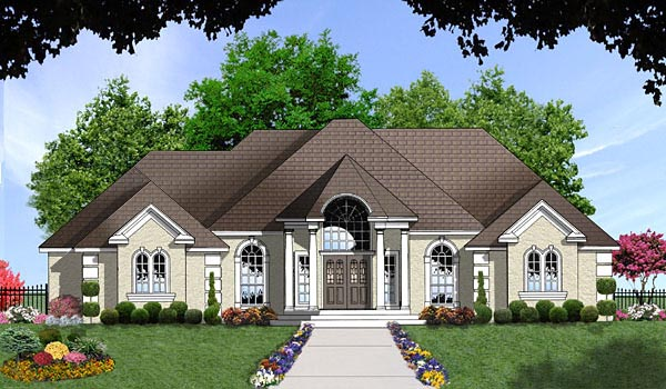European House Plan 77068 Elevation