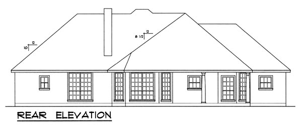 European House Plan 77068 Rear Elevation