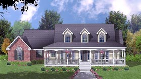 Country House Plan 77075 with 3 Beds, 2 Baths, 2 Car Garage Elevation