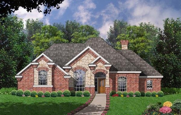 European , Tudor House Plan 77081 with 3 Beds, 2 Baths, 2 Car Garage Elevation