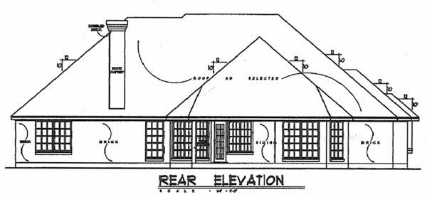 European , Tudor House Plan 77081 with 3 Beds, 2 Baths, 2 Car Garage Rear Elevation