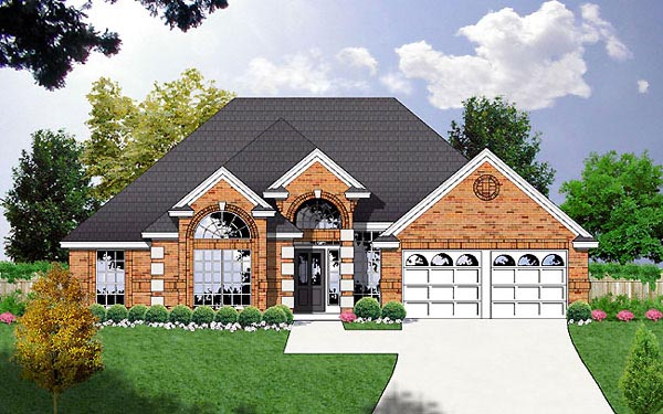 European House Plan 77082 Elevation