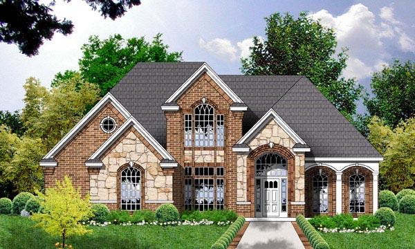 European Tudor House Plan 77087 Elevation
