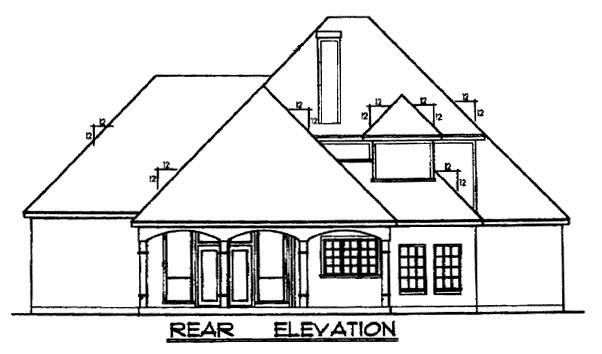 European Tudor House Plan 77087 Rear Elevation