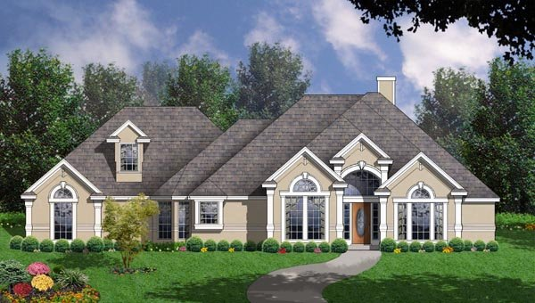 European House Plan 77089 Elevation