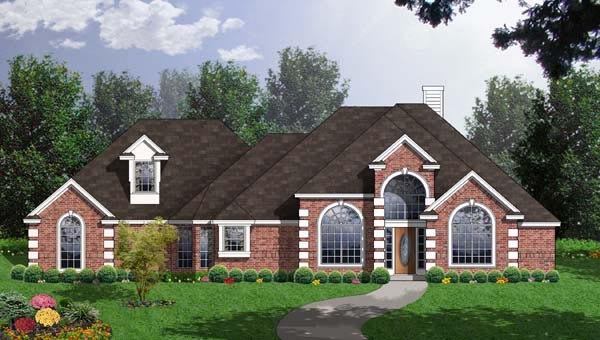 European House Plan 77090 Elevation