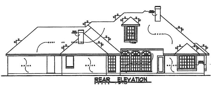 European House Plan 77094 Rear Elevation