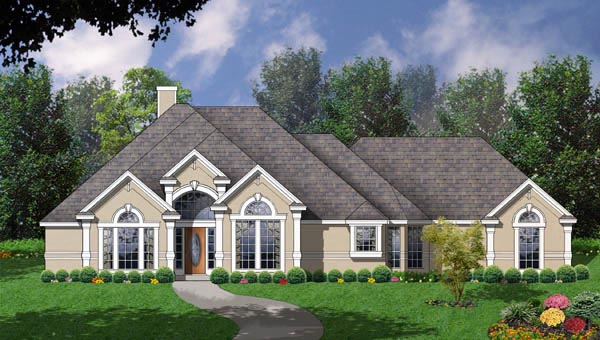 House Plan 77095 | European Style Plan with 2333 Sq Ft, 4 Bedrooms, 2.5 Bathrooms, 2 Car Garage Elevation