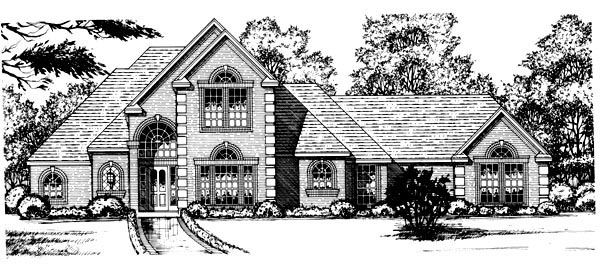 European Tudor House Plan 77098 Elevation