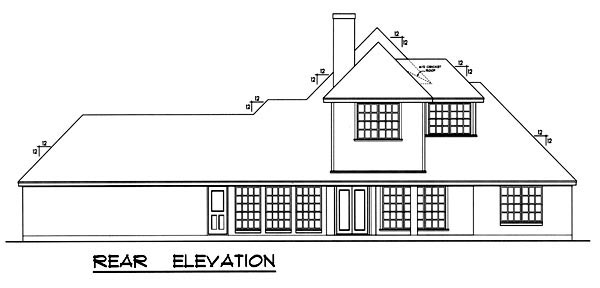 European Tudor House Plan 77098 Rear Elevation
