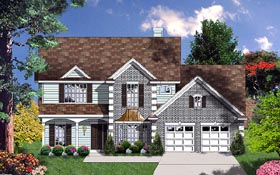 Traditional House Plan 77099 with 4 Beds, 4 Baths, 2 Car Garage Elevation