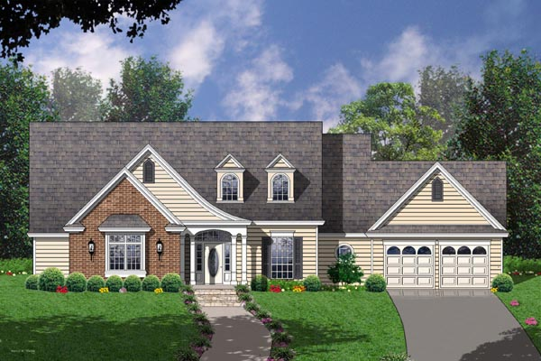 House Plan 77100 | Country Style Plan with 2390 Sq Ft, 4 Bedrooms, 2 Bathrooms, 2 Car Garage Elevation