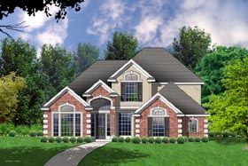 House Plan 77103 | Traditional Style Plan with 2440 Sq Ft, 4 Bedrooms, 2.5 Bathrooms, 2 Car Garage Elevation