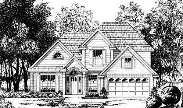 Country , European House Plan 77105 with 4 Beds, 2.5 Baths, 2 Car Garage Elevation