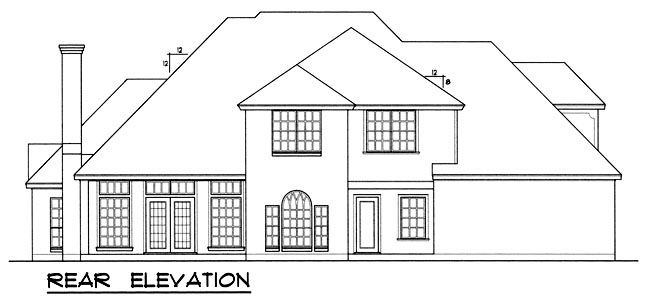 European Traditional House Plan 77107 Rear Elevation