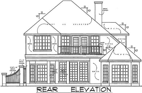 European Victorian House Plan 77108 Rear Elevation