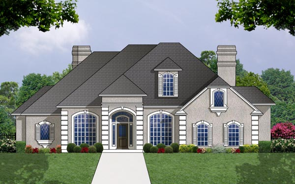 European House Plan 77110 Elevation