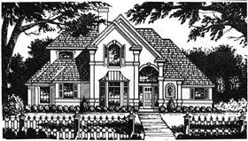 House Plan 77112   European Mediterranean Tudor Style Plan with 2552 Sq Ft, 4 Bedrooms, 3.5 Bathrooms, 2 Car Garage Elevation