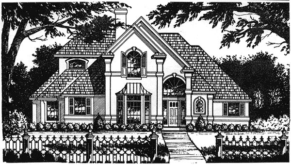 European Mediterranean Tudor House Plan 77112 Elevation