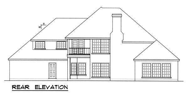 European Mediterranean Tudor House Plan 77112 Rear Elevation