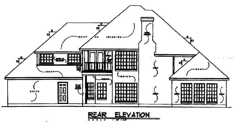 Traditional House Plan 77113 with 3 Beds, 2.5 Baths, 2 Car Garage Rear Elevation