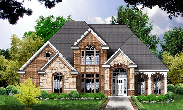 European Tudor House Plan 77119 Elevation