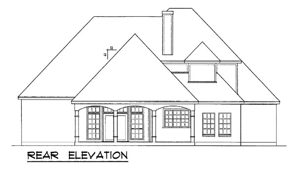 European Tudor House Plan 77119 Rear Elevation