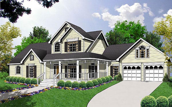 Country Farmhouse House Plan 77121 Elevation