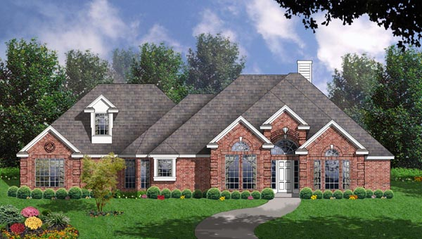 European House Plan 77122 Elevation