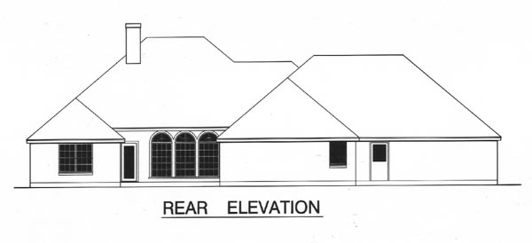 European House Plan 77122 Rear Elevation