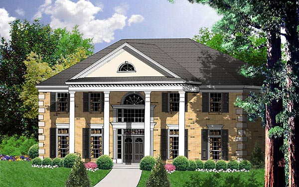 Colonial Southern House Plan 77127 Elevation