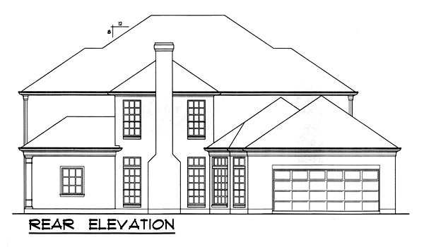 Colonial Southern House Plan 77127 Rear Elevation