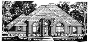 European House Plan 77128 with 3 Beds, 2 Baths, 2 Car Garage Elevation