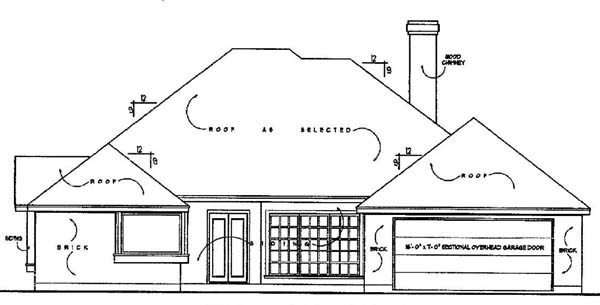 European Rear Elevation of Plan 77128