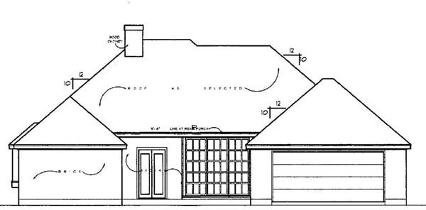 European Rear Elevation of Plan 77134