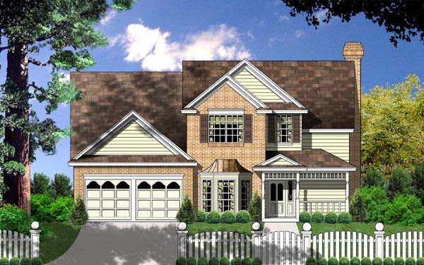 House Plan 77135 | Country Traditional Style Plan with 2000 Sq Ft, 3 Bedrooms, 2.5 Bathrooms, 2 Car Garage Elevation