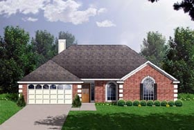 Traditional House Plan 77143 with 3 Beds, 3 Baths, 2 Car Garage Elevation