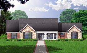 Country , One-Story , Ranch House Plan 77144 with 3 Beds, 2 Baths, 2 Car Garage Elevation