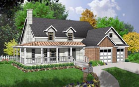 House Plan 77150   Country Style Plan with 2125 Sq Ft, 3 Bedrooms, 3 Bathrooms, 2 Car Garage Elevation