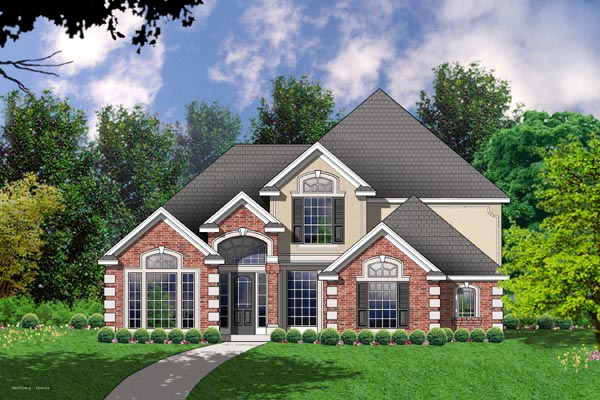 European Traditional House Plan 77156 Elevation